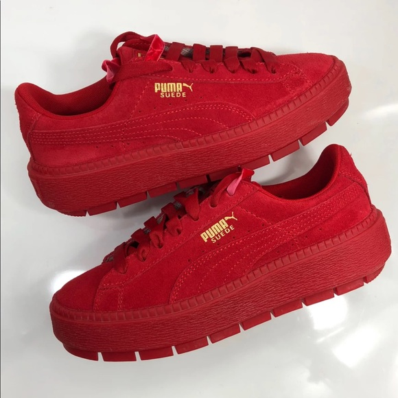sneakers for cheap 159f2 70a3a Women's puma Fenty Rihanna Cleated Creepers Red
